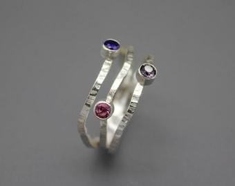 Birthstone Ring, Mom Ring, Silver Birthstone Jewelry, Mom Jewelry, Layered Ring, Grandma Ring, Family Ring Family Birthstone, Silver