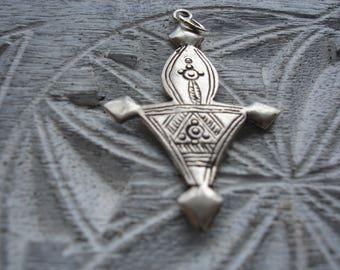 Silver (tested) small Moroccan hand engraved  fibula pendant