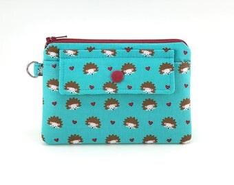 Hedgehog Coin Purse - Small Zipper Pouch - Snap Wallet - Keychain Pouch - Gift ideas - Gift for her - Padded Pouch