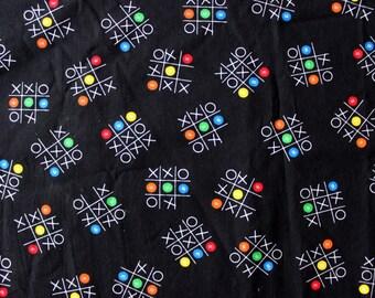 Authentic M&M Tic Tac Toe Fabric circa 2000s 1990s 90s . Black material cute candy Mars Inc. Half Yard Quilting Scrap Destash