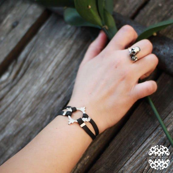 O Ring Unisex Bracelet, Art Deco, Leather Bracelet, Boyfriend gift, Mens Gift, Wrap Boho Leather Gift, Eternity Symbol, Fathers Day Gift