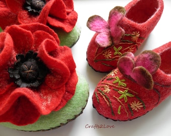 Set of felt slippers Mother and daughter Children and grownup felted shoos Red poppies Leather soles Wool slippers