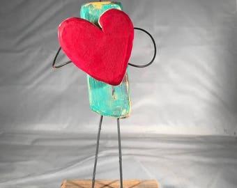 "Original, One of a kind, James Edward Hernandez Wood Sculpture - ""Here's My Heart"""