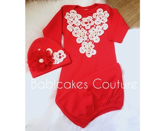 Newborn Girl Coming Home Outfit, Red Holiday Baby Gown, Red and Ivory Lace Coming Home Outfit, Babys 1st Christmas, Victorian Baby Layette