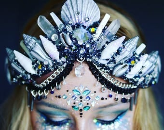The OUTER SPACE Mermaid Crown with Swarovski Crystal / headband / headdress