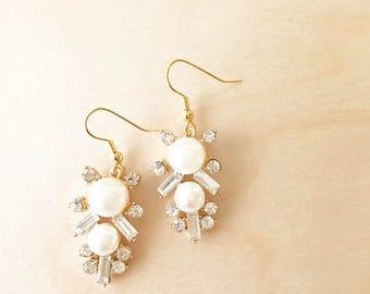 BROOKLYN Earrings - Crystal and Pearl Gold Earrings