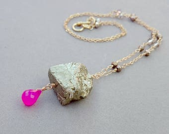 Pyrite Nugget Necklace - Hot Pink Chalcedony Gold and Bronze Necklace