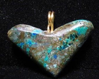 Heart Pendant, azurite malachite gold bail 38ct