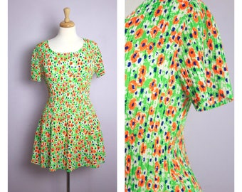 Vintage 1970's Neon Green + Orange Floral Mini Babydoll Dress M/L