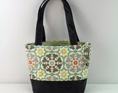 Lulu Medium Tote  Bag - Beach with PU Gray Leather - READY to SHIP   Purse Shoulder Straps 3 pockets Handbag Washable