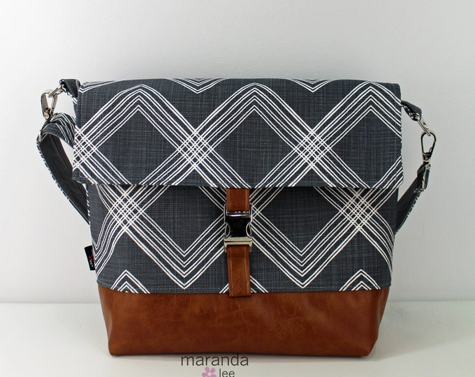 Lulu Large Flap Messenger Satchel  - Colton Navy and PU Leather READY to SHIP