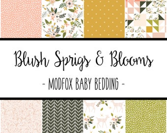 Blush Sprigs and Blooms Baby Bedding - Floral Crib Bedding - Floral Crib Sheet - Floral Baby Blanket - Floral Changing Pad - Floral Nursery