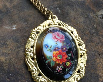 Vintage Glass Floral Pendant 12K Gold Filled Chain