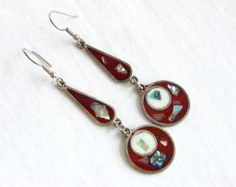 Red Mexican Earrings Vintage Long Dangles Alpaca Red White Resin Abalone Statement Dangle Modern Boho Chic Discs