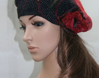 "Beret felt and silk black, pink and salmon, ""Victoria..."""