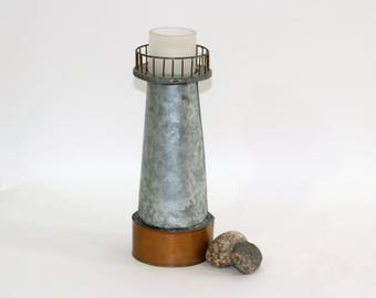 Vintage Galvanized Metal Lighthouse Candle Holder Handmade   Beach Cabin Decor   Beach House Decor   Candle Lantern   Nautical Decor