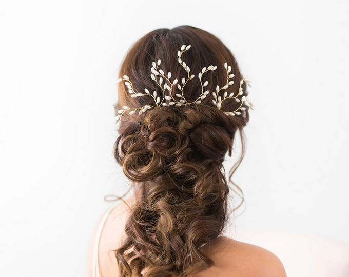 Wedding Hair Accessories, Bridal Headpiece, Pearl Hair pins, Gold Bridal Hair pins, Wedding Headpiece, Bridal Accessories, Gold Hair vine