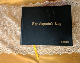 Vintage The Captains Log Book sailing ship boat nautical hardback maps charts *eb