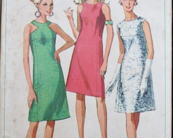 Simplicity 6842 1960s 60s Halter Neckline Cocktail Dress with Coat Vintage Sewing Pattern Size 14 Bust 34