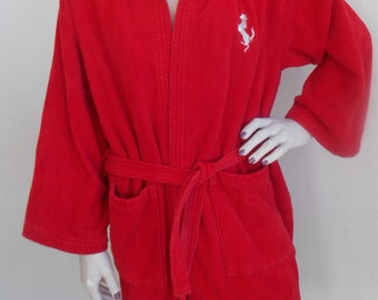 Vintage Terry Robe Ferrari Made in Italy Size Medium Red