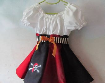 ON SALE NOW - Girl's Pirate Dress & Belt: Steampunk, Peasant - Size 2/3, All Cotton Fabric, Ready To Ship Now