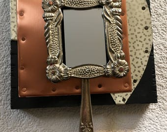 art deco style recycled copper tin mirror,wall decor,entryway mirror,cabin decor,rustic,salvage assemblage,eclectic art,one of a kind decor