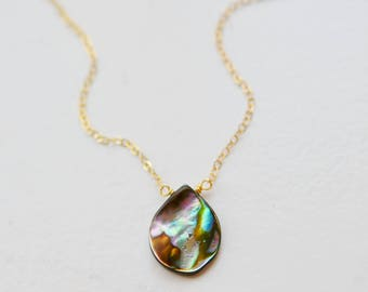 Abalone Necklace, Small Teardrop Abalone Necklace, Shell Necklace, 14kt Gold Filled or Sterling Silver