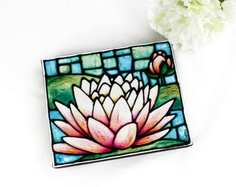 Lotus Flower Original Canvas Painting - Water Lily Artwork - Floral Wall Hanging - Acrylic Painting - Art Nouveau Flower (not a print)