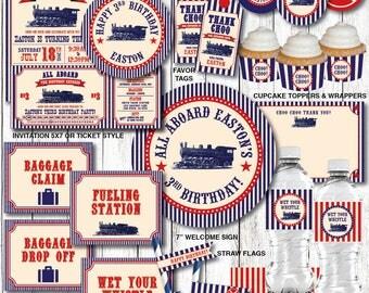 Train Birthday Decorations, Train Birthday Party Decorations, Train Birthday Invitation, Train Party, Printable PDF Files