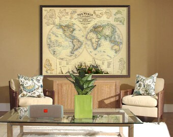 Map of the world - Vintage map of the world - World  map poster - Large world map poster