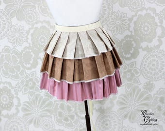 "Steampunk Ruffle Bustle Overskirt - Ivory, Tan, & Pink - 3 Layer, Sz. M - Fits up to 55"" Waist/Upper Hip -- Ready to Ship"