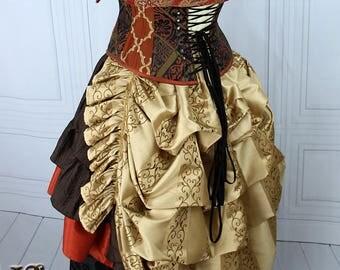 "Steampunk Siren Bustle Overskirt -- Embroidered Gold Faux Silk, Medium Length -- Fits up to 50"" Waist/Upper Hip"