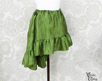 """Steampunk High Low Mini Cecilia Skirt -- Light Olive Crinkle Taffeta -- Ready to Ship -- Best Fits Up To 45"""" Waist"""