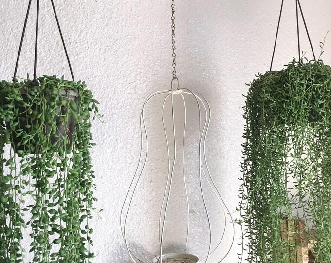 Vintage Hanging White Metal Cage Lantern Candle / Plant Holder