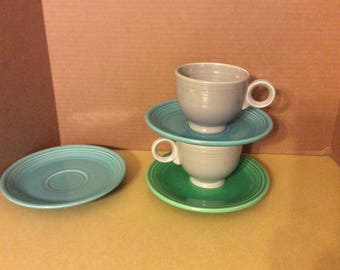 Fiestaware Cups and Saucers Five Pieces Fiesta
