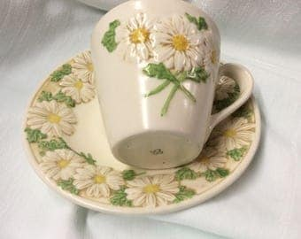 Vintage Poppytrail Cup and Saucer Sculptured Daisy