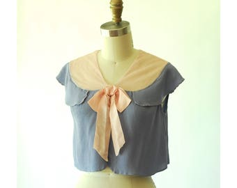 vintage 1930s blouse / 30s periwinkle and pink rayon crop top / size xs