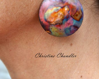 Copper Earrings - Large Circle - Flame Painted Copper Earrings - Christine Chandler - Multi colored - copper earrings - Circle Earrings