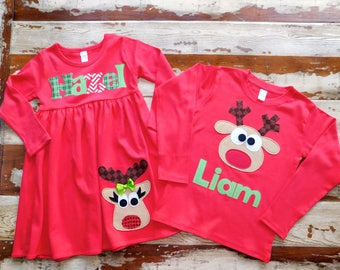 Christmas Dress and Shirt Set, Brother Sister Sibling Set, Personalized Dress and Shirt with Reindeer Appliqué, Long Sleeved 3-6m to 8yrs