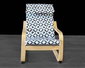 Diamond Geometric Black White IKEA KIDS POÄNG Cushion Slipcover