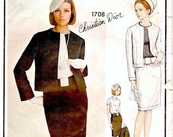Chic Vintage 1960s Vogue Paris Original 1708 Designer Christian Dior Evening Suit, Bolero Jacket, Slim Skirt and Blouse Sewing Pattern B32