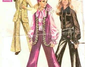 Groovy Hippie Vintage 1960s Simplicity 8520 Vest, Blouse and Bell Bottom Pants Sewing Pattern B34