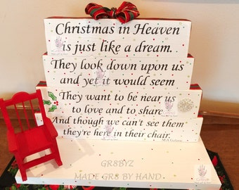Christmas Holiday Memorial in Heaven table top display by gr8byz