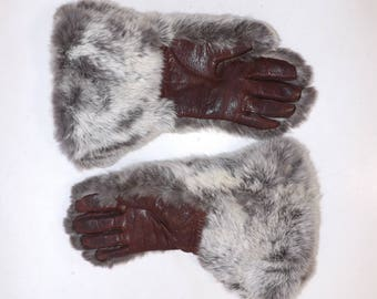 Vintage 1970s ladies natural grey cream real rabbit fur gloves brown leather palms