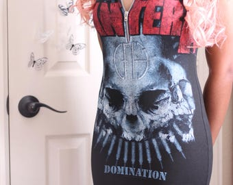Black Pantera Zipper Short Sleeve Mini Dress S-L Made to Order