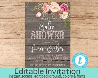 Rustic Baby Shower Invitation, Pink Floral Wood background, Girl Baby Shower invite, Editable Invitation Template, Templett Instant Download