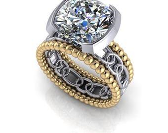 Bezel Set Solitaire Engagement Ring - Moissanite Bridal Set - Insieme™ Bridal Stackables - ON SALE