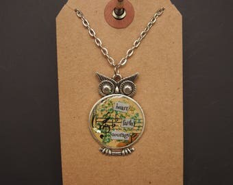 heart faith courage - Owl Art Pendant - Inspirational Message - FREE SHIPPING