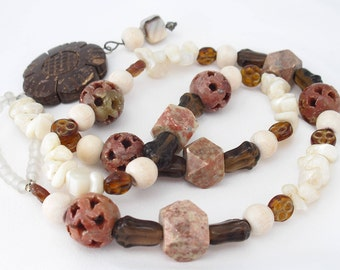 Agate Necklace - Hollow Carved Pierced Agate Beads, Mother of Pearl, Art Glass, Bone  - Nature Jewelry - Wide Loop Clasp