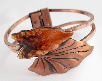 Vintage Renoir Cuff Bracelet - Copper Enamel Cuff - Autumn Leaves Matisse Clamper - 1950s Jewelry